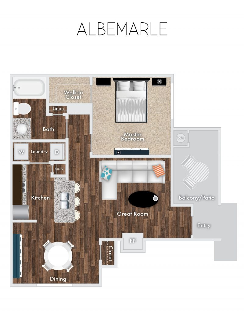 Albermarle Floor Plan, 1 Bedroom, 1 Bath