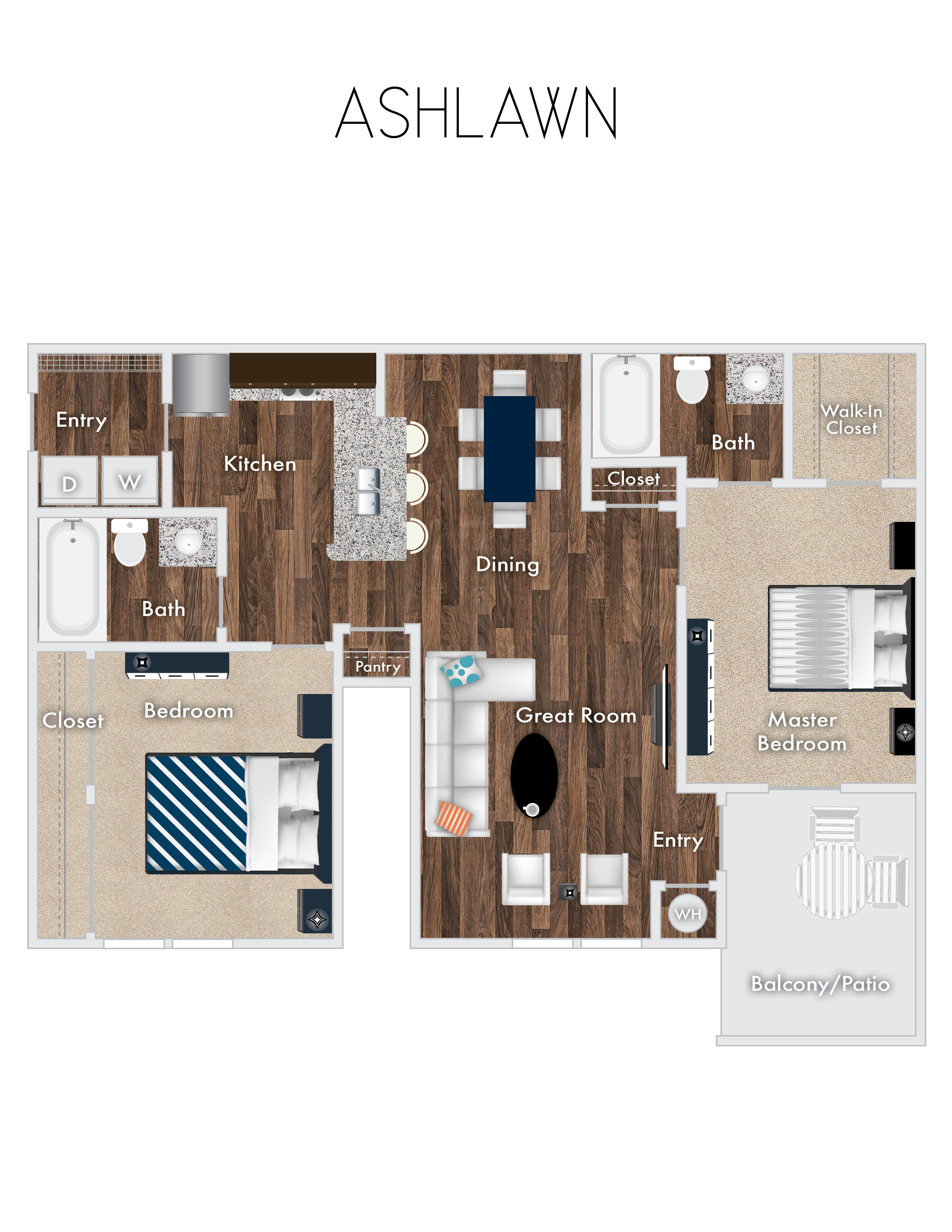 Ashlawn Floor Plan, 2 Bedroom, 2 Bath with optional garage.