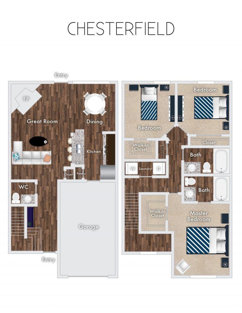 Chesterfield Floor Plan, 2 Story, 3 Bedrooms, 2 Baths with garage.