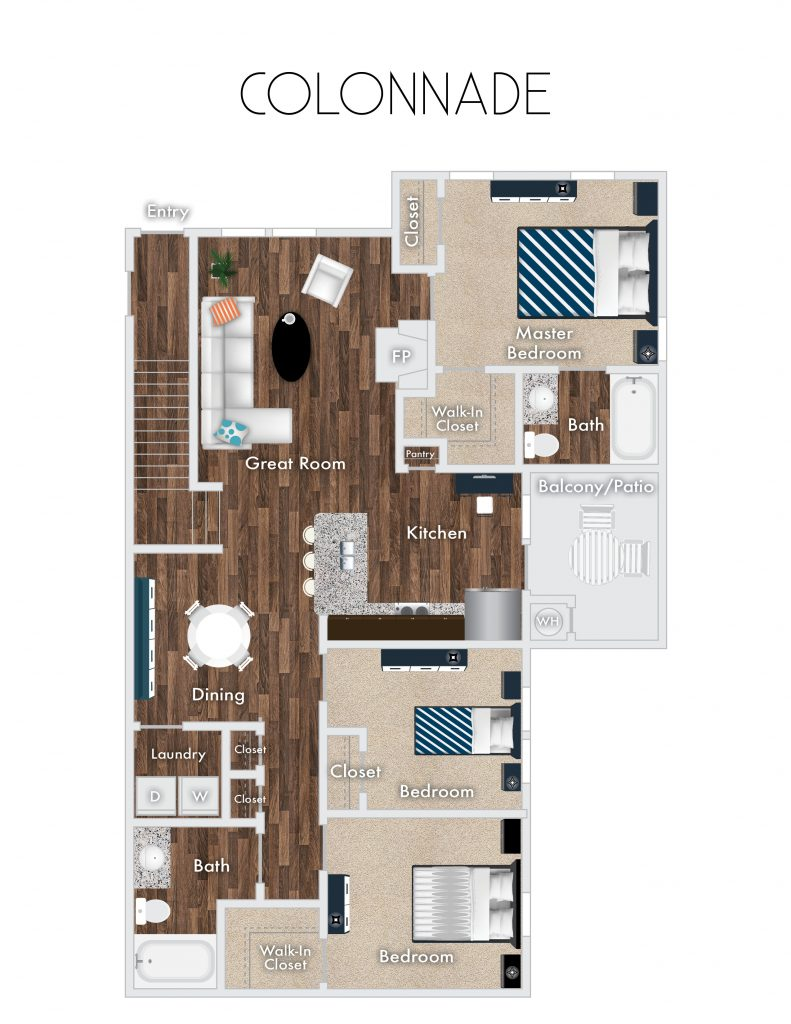 three bedroom apartment layout