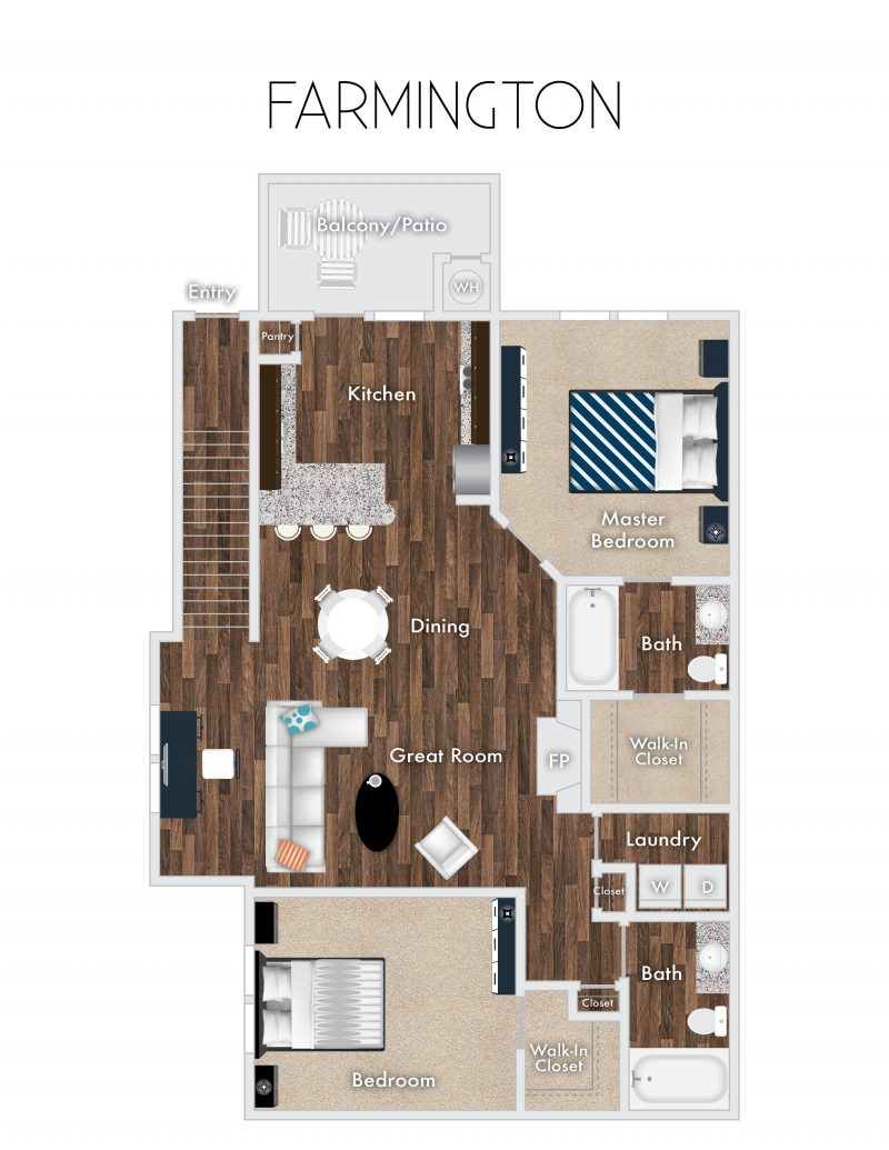 Farmington Floor Plan, 2 Bedrooms, 2 Baths