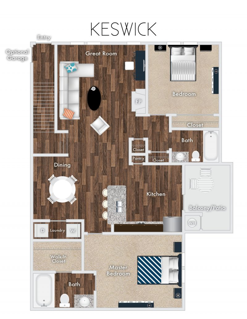 Keswick Floor Plan, 2 Bedrooms, 2 Baths