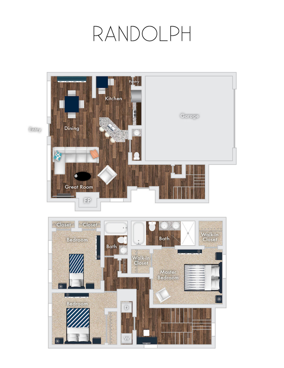 Randolph floor plan, 2 Story, 3 Bedrooms, 2 Baths, with 2 Car Garage